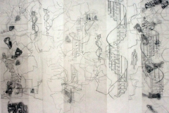 Haunted  House, Haunted Body, wall drawing, carbon on layered trace, 200cm x 350, 2014cm