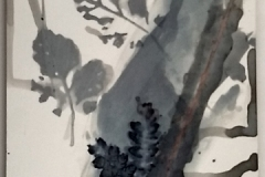 Shadows of the Past and Future (detail), drawings and found objects, ink and sgraffito on clayboard, 2019