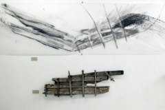 Fulmars, drawing on trace with found object, 90cm x 250cm, 2010