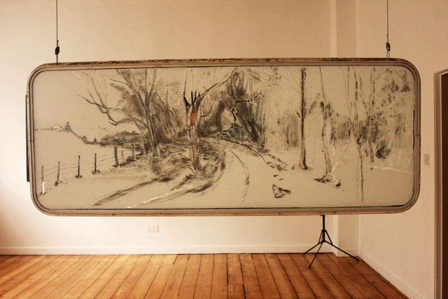 What is the light you have lost?, Sgraffito drawing on caravan window, 80cm x 200cm, 2014