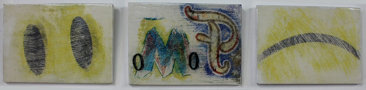 FOMO (detail), drawings x 9 on gessoed boards  105 x 148 mm , 2018