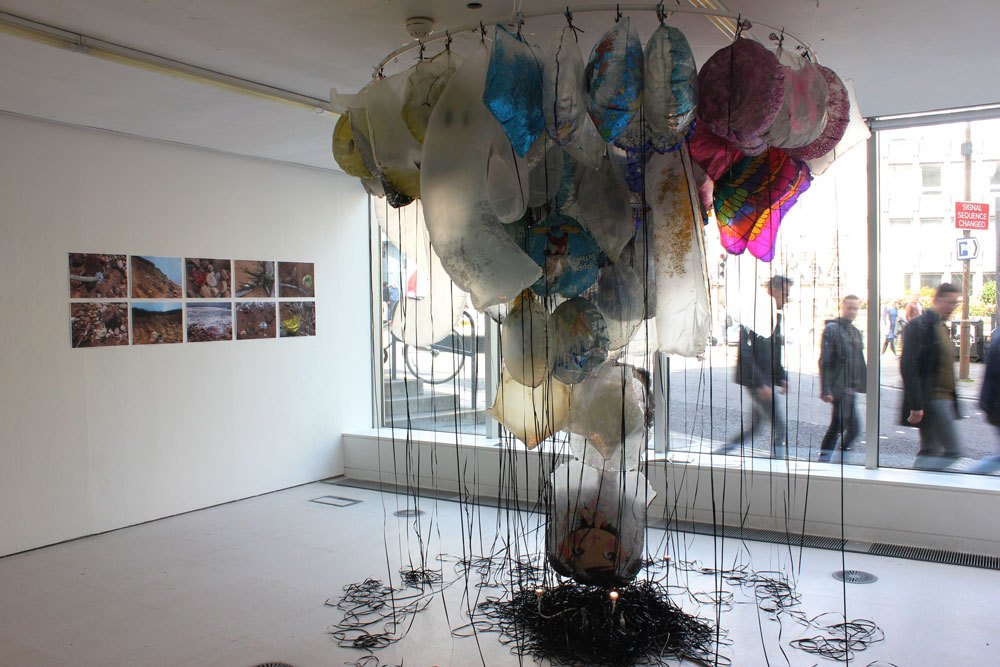 GYRE,  Installation of found objects, drawings and photos, 2018