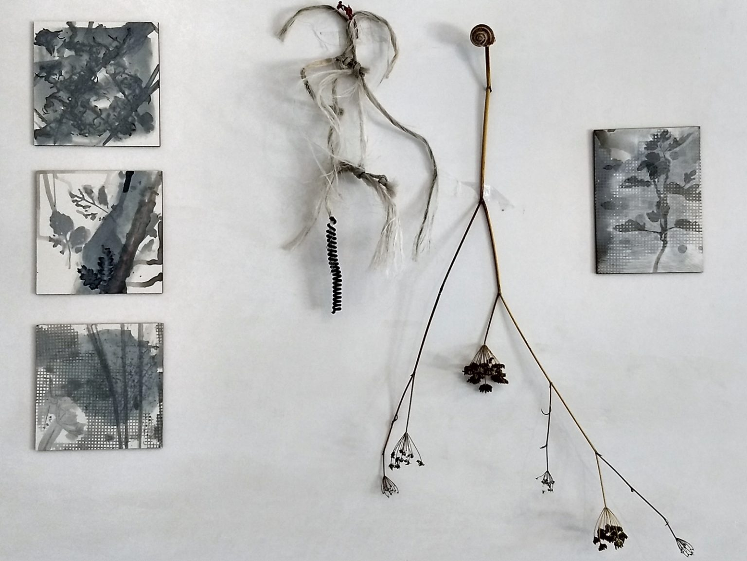 Shadows of the Past and Future, drawings and found objects, ink and sgraffito on clayboard, 2019
